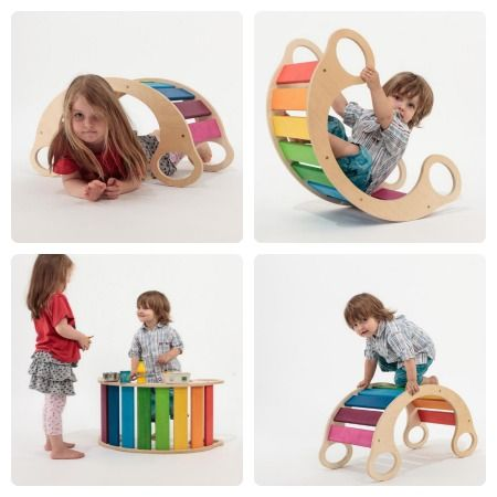 rainbow rocker baby wood