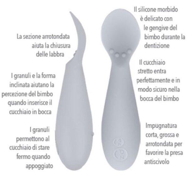 Set 2 Cucchiai in Silicone Tiny Spoon Salvia EzPz
