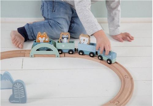 pista trenino blu Wooden Train Track Little Dutch