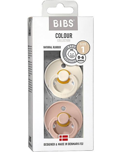 Set di 2 Ciucci Colour Avorio e Rosa Cipria Bibs