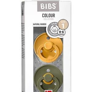 Set di 2 Ciucci Colour Giallo di Miele e Oliva Bibs