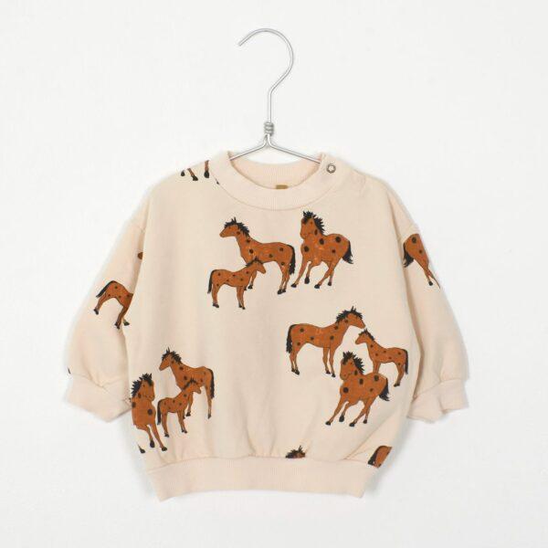 SWEATSHIRT HORSES CREAM Lotiekids