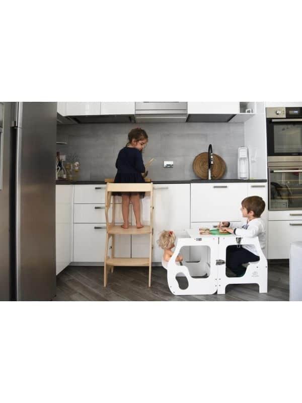Torre Montessoriana convertibile doppia seduta bianco Babywood
